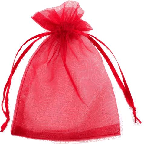 Červený sáček organza