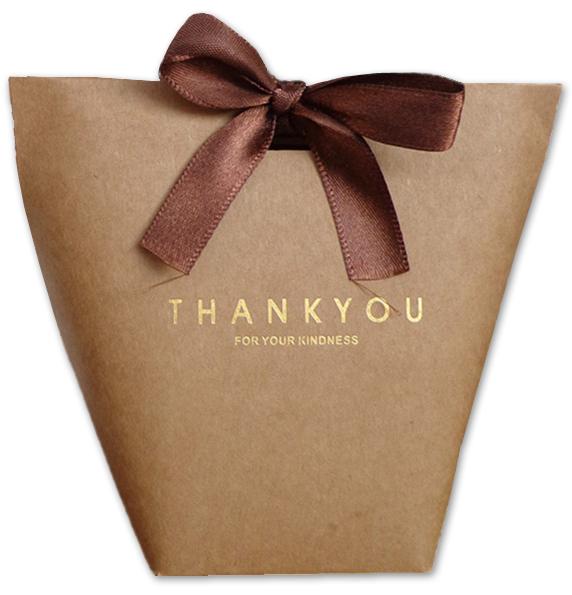 Hnědá papírová taštička Thank you