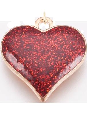 Přívěsek srdce červeno-zlaté
