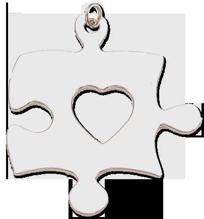 Přívěsek puzzle - stříbrné